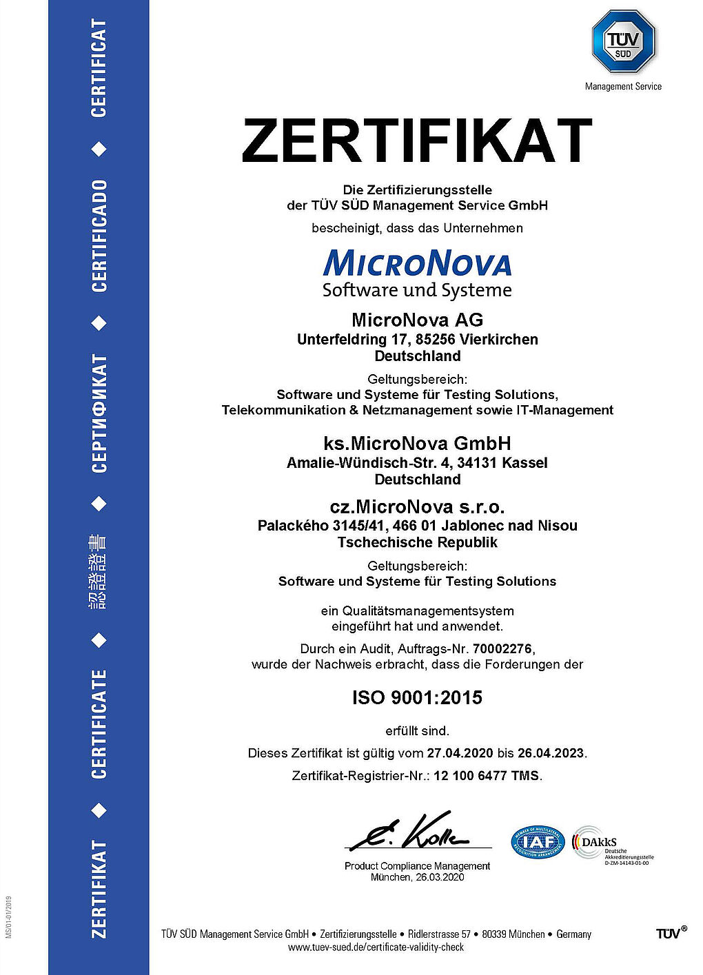 Joint Certitificate: ISO 9001:2015